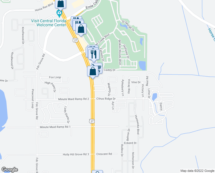 map of restaurants, bars, coffee shops, grocery stores, and more near 317 Majesty Drive in Davenport