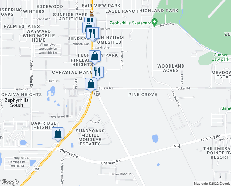 map of restaurants, bars, coffee shops, grocery stores, and more near 38704 Tucker Road in Zephyrhills