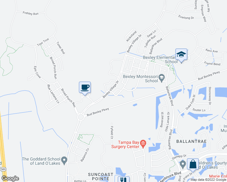 map of restaurants, bars, coffee shops, grocery stores, and more near 4154 Bexley Village Drive in Pasco County