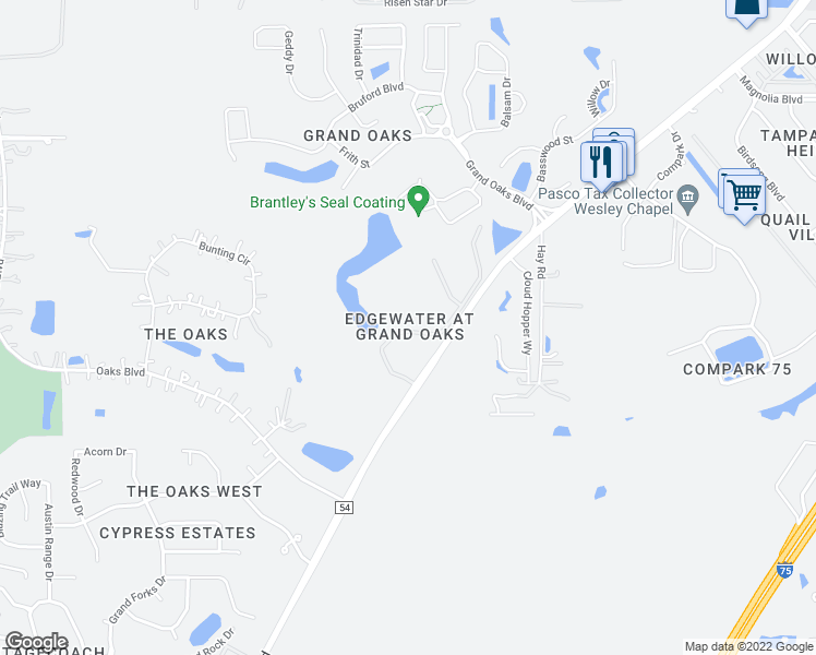 map of restaurants, bars, coffee shops, grocery stores, and more near 4309 Winding River Way in Land O' Lakes