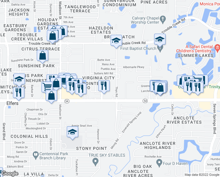 map of restaurants, bars, coffee shops, grocery stores, and more near 4100 Pecos Drive in New Port Richey
