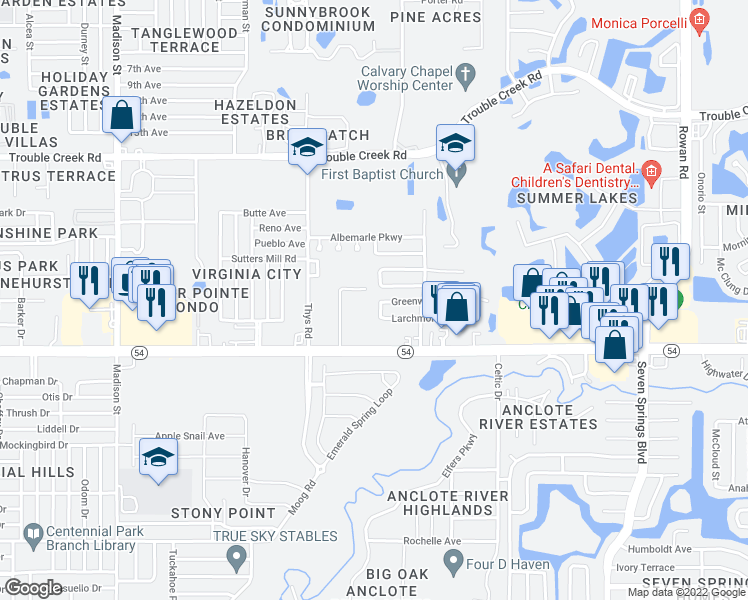map of restaurants, bars, coffee shops, grocery stores, and more near 4111 Scarsdale Trail in New Port Richey