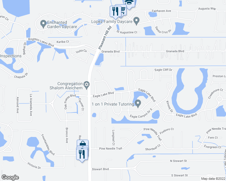 map of restaurants, bars, coffee shops, grocery stores, and more near 3201 Eagle Watch Drive in Kissimmee
