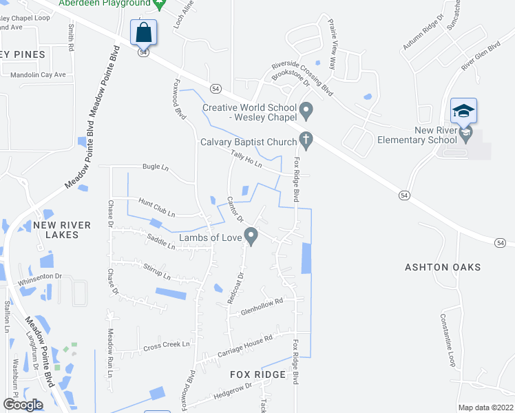 map of restaurants, bars, coffee shops, grocery stores, and more near 4527 Redcoat Drive in Zephyrhills