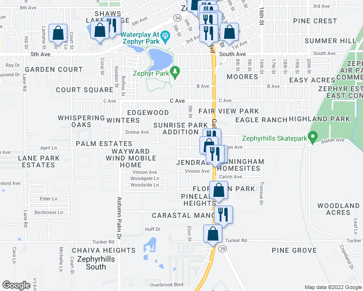 map of restaurants, bars, coffee shops, grocery stores, and more near 4508 Plum Street in Zephyrhills