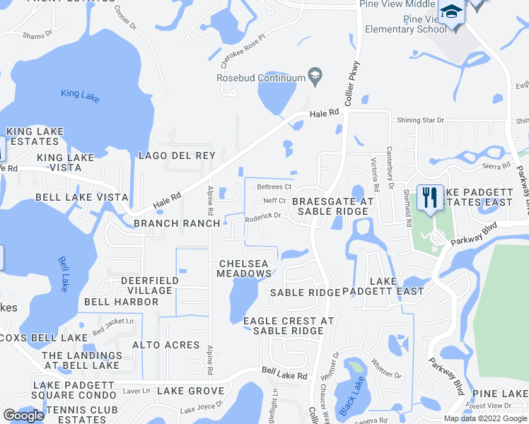 map of restaurants, bars, coffee shops, grocery stores, and more near 22707 Roderick Drive in Land O' Lakes