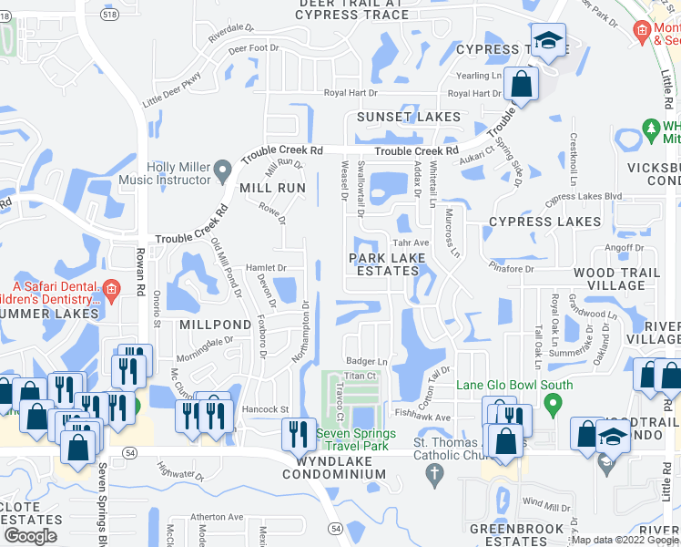 map of restaurants, bars, coffee shops, grocery stores, and more near 4503 Weasel Drive in New Port Richey