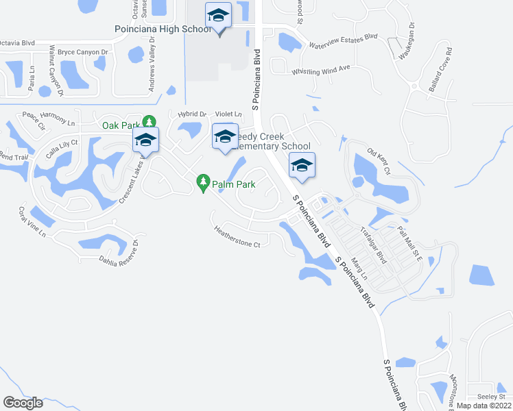 map of restaurants, bars, coffee shops, grocery stores, and more near 2585 Sage Dr in Kissimmee