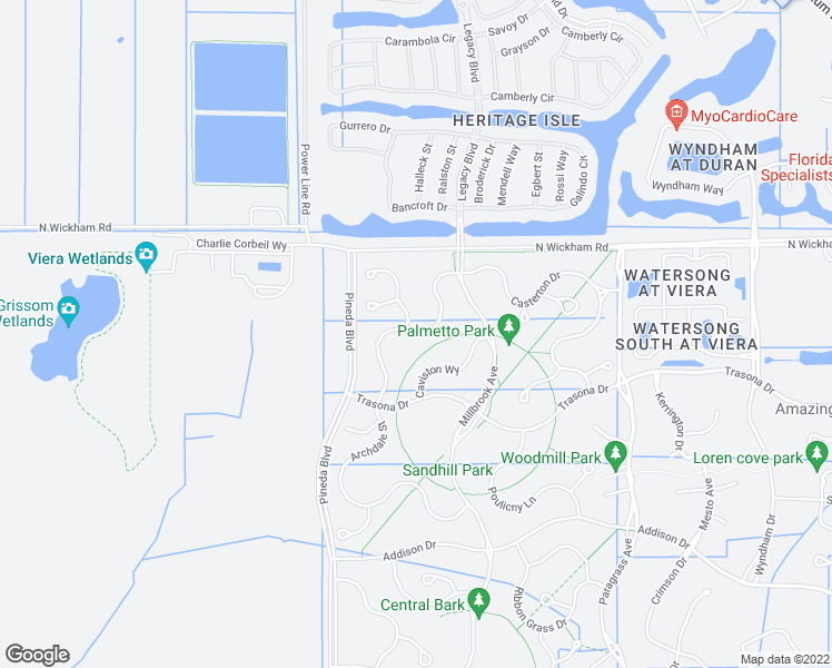 map of restaurants, bars, coffee shops, grocery stores, and more near Archdale Street in Brevard County