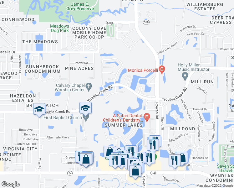 map of restaurants, bars, coffee shops, grocery stores, and more near 7126 Waxwing Drive in New Port Richey
