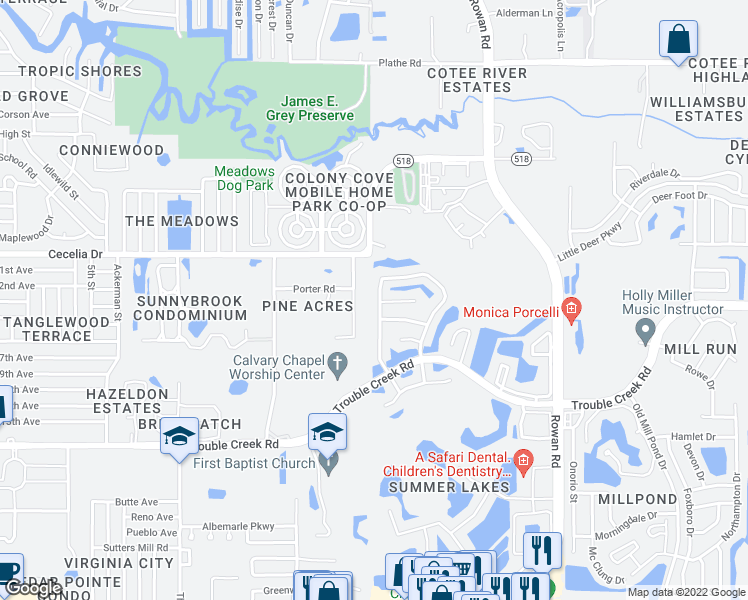 map of restaurants, bars, coffee shops, grocery stores, and more near 4845 Westerly Drive in New Port Richey