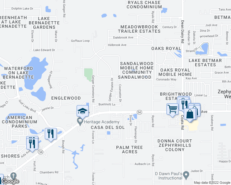 map of restaurants, bars, coffee shops, grocery stores, and more near 35940 Buehholz Lane in Zephyrhills