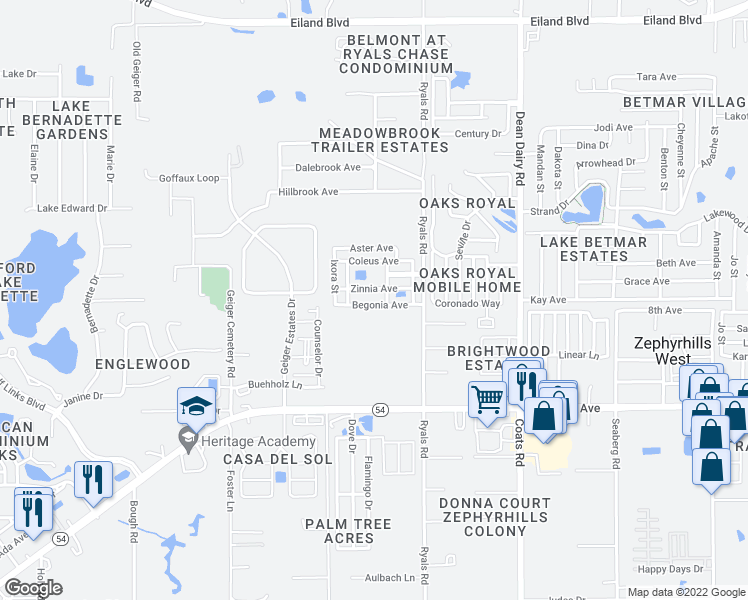 map of restaurants, bars, coffee shops, grocery stores, and more near 36107 Begonia Avenue in Zephyrhills