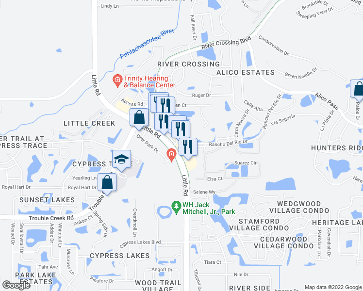 map of restaurants, bars, coffee shops, grocery stores, and more near 8937 Rancho Del Rio Drive in New Port Richey