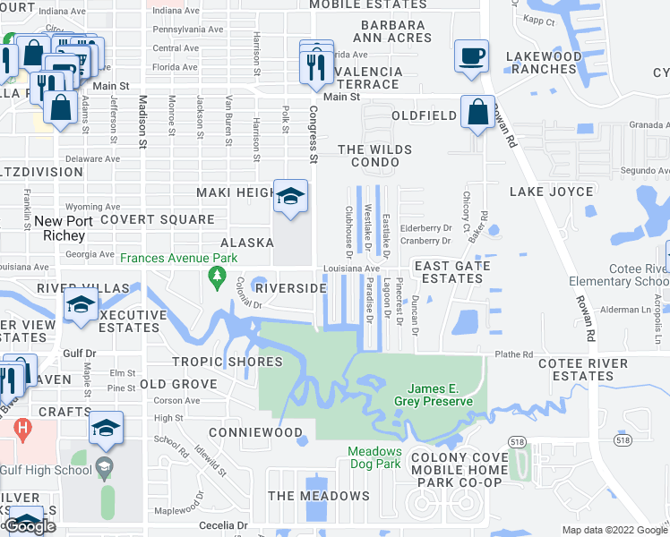 map of restaurants, bars, coffee shops, grocery stores, and more near 8460 Blue Harbor Drive in New Port Richey