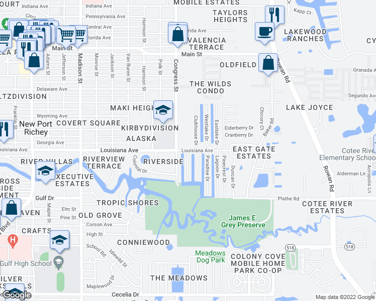 map of restaurants, bars, coffee shops, grocery stores, and more near 8456 Blue Harbor Drive in New Port Richey