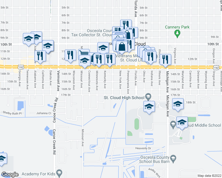 map of restaurants, bars, coffee shops, grocery stores, and more near 618 13th Street in St. Cloud