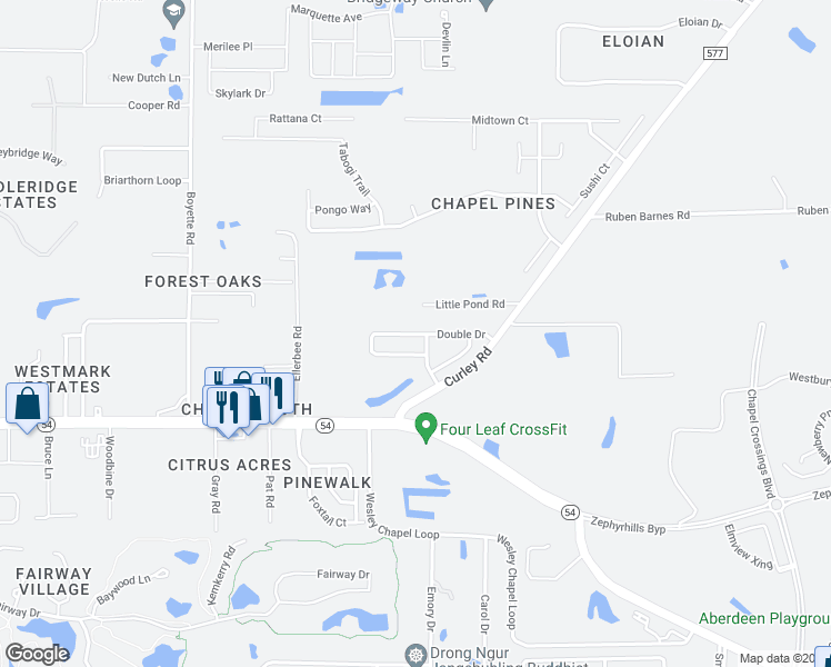 map of restaurants, bars, coffee shops, grocery stores, and more near 30513 Double Eagle Court in Zephyrhills