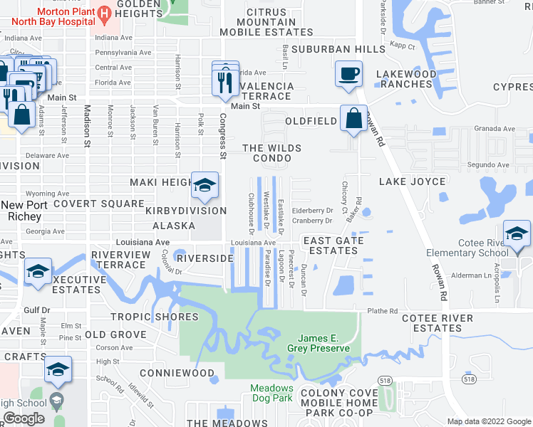map of restaurants, bars, coffee shops, grocery stores, and more near 5701-5999 Eastlake Drive in New Port Richey