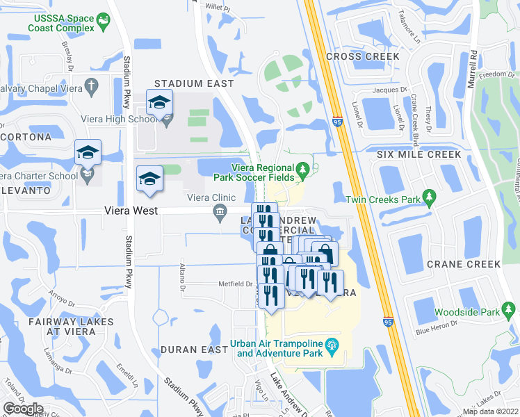 map of restaurants, bars, coffee shops, grocery stores, and more near Lake Andrew Drive in Melbourne