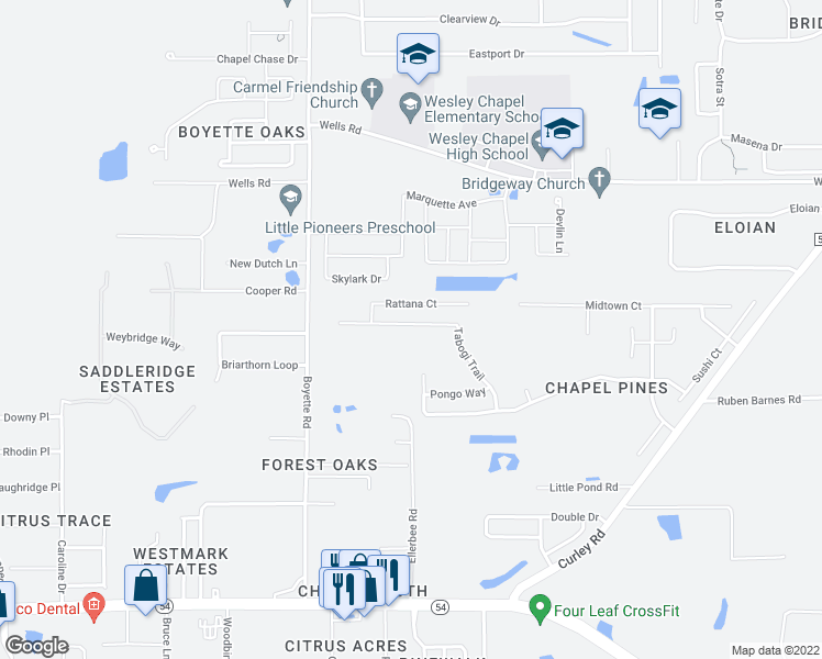 map of restaurants, bars, coffee shops, grocery stores, and more near 6503 Tabogi Trail in Wesley Chapel