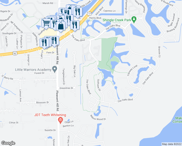 map of restaurants, bars, coffee shops, grocery stores, and more near 1530 The Oaks Boulevard in Kissimmee