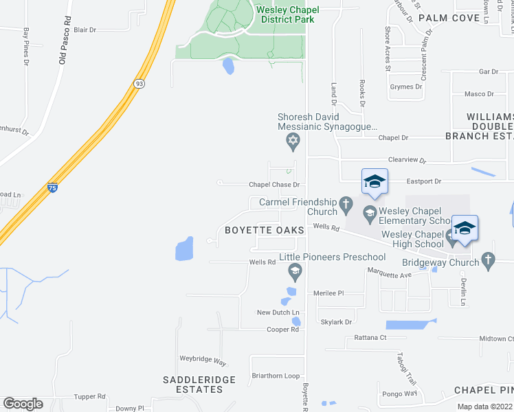 map of restaurants, bars, coffee shops, grocery stores, and more near 29803 Cedar Waxwing Dr in Wesley Chapel