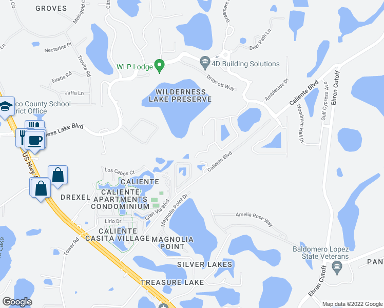 map of restaurants, bars, coffee shops, grocery stores, and more near 7015 Cardinalwood Lane in Land O' Lakes