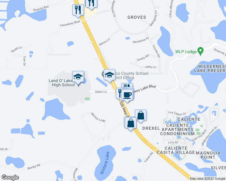 map of restaurants, bars, coffee shops, grocery stores, and more near 7227 Land O' Lakes Boulevard in Land O'