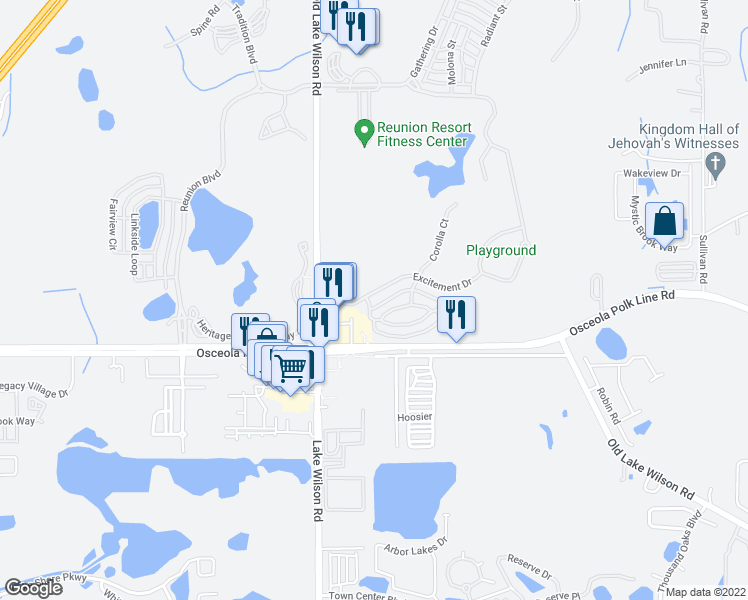 map of restaurants, bars, coffee shops, grocery stores, and more near 7414 Excitement Drive in Osceola County