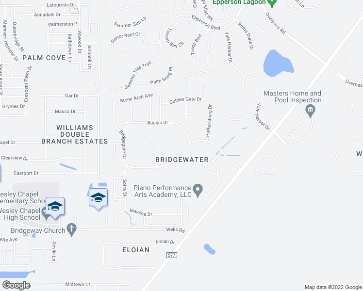 map of restaurants, bars, coffee shops, grocery stores, and more near 31307 Bridgegate Drive in Wesley Chapel