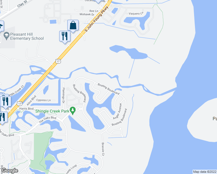 map of restaurants, bars, coffee shops, grocery stores, and more near 2906 Boating Boulevard in Kissimmee
