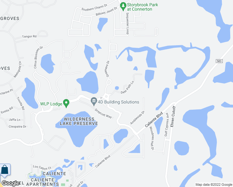 map of restaurants, bars, coffee shops, grocery stores, and more near 7444 Deer Path Lane in Land O' Lakes