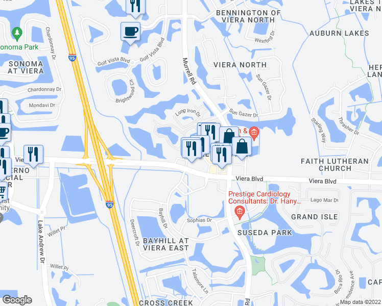 map of restaurants, bars, coffee shops, grocery stores, and more near 1782 Mission Bay Circle in Rockledge