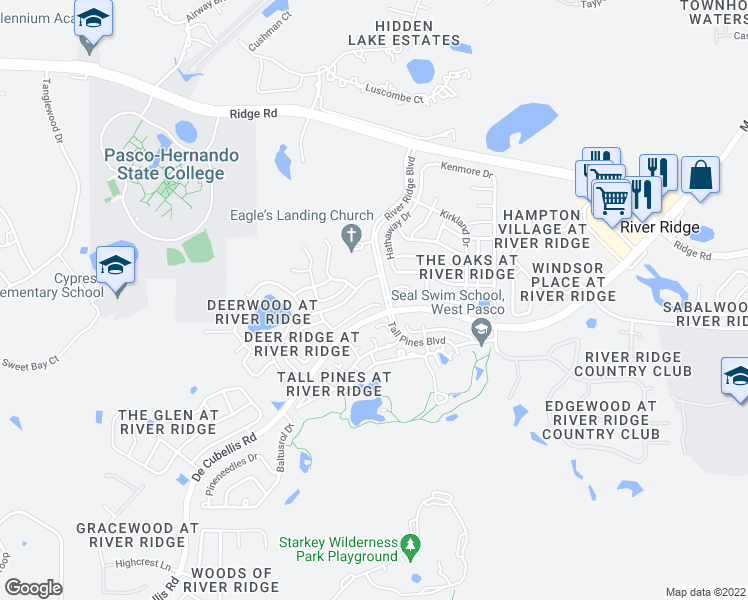map of restaurants, bars, coffee shops, grocery stores, and more near 10725 Magrath Lane in New Port Richey