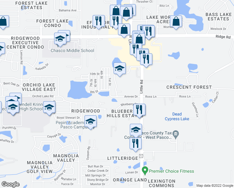 map of restaurants, bars, coffee shops, grocery stores, and more near 1st Street in New Port Richey
