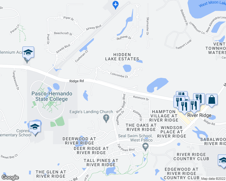 map of restaurants, bars, coffee shops, grocery stores, and more near 8254 Ridge Road in New Port Richey