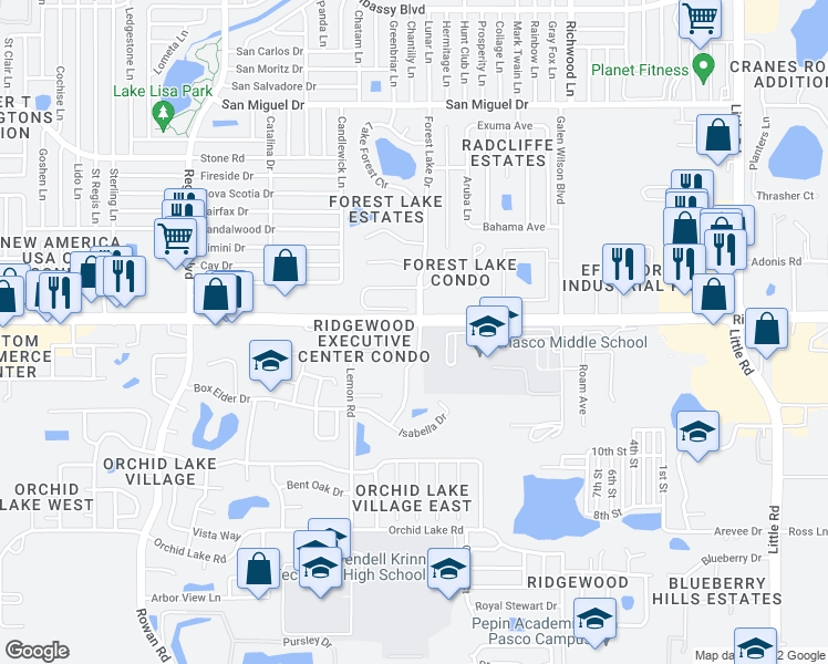 map of restaurants, bars, coffee shops, grocery stores, and more near 8228 Chasco Woods Boulevard in Port Richey