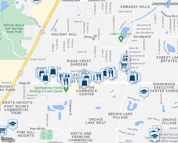 map of restaurants, bars, coffee shops, grocery stores, and more near 6700 Date Palm Boulevard in Port Richey