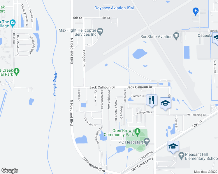 map of restaurants, bars, coffee shops, grocery stores, and more near South Hoagland Boulevard in Kissimmee
