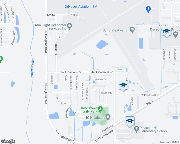 map of restaurants, bars, coffee shops, grocery stores, and more near S Hoagland Blvd in Kissimmee