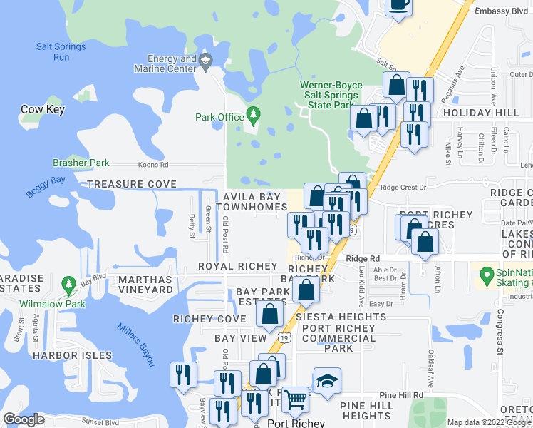 map of restaurants, bars, coffee shops, grocery stores, and more near Marbella Drive in Port Richey