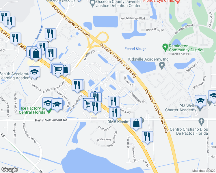 map of restaurants, bars, coffee shops, grocery stores, and more near 2400 Academy Circle East in Kissimmee
