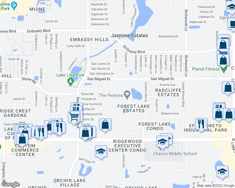 map of restaurants, bars, coffee shops, grocery stores, and more near 7415 Fireside Drive in Port Richey