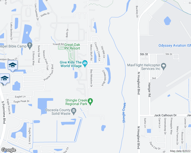 map of restaurants, bars, coffee shops, grocery stores, and more near 4317 Bay Vista Drive in Kissimmee
