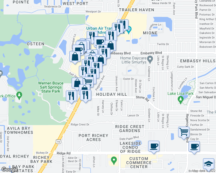 map of restaurants, bars, coffee shops, grocery stores, and more near 6410 Gainsboro Drive in Port Richey