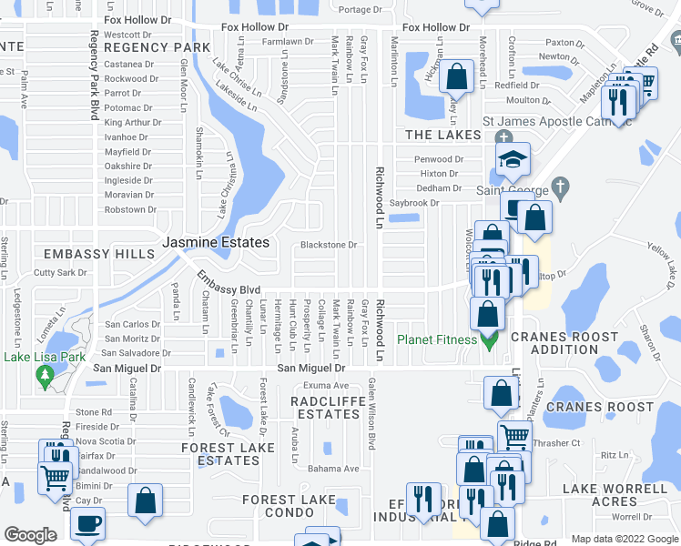 map of restaurants, bars, coffee shops, grocery stores, and more near 9230 Mark Twain Lane in Port Richey