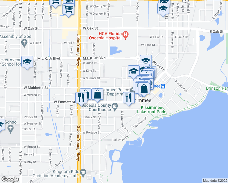 map of restaurants, bars, coffee shops, grocery stores, and more near 108 North Vernon Avenue in Kissimmee