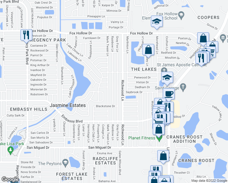 map of restaurants, bars, coffee shops, grocery stores, and more near 9436 Rainbow Lane in Port Richey