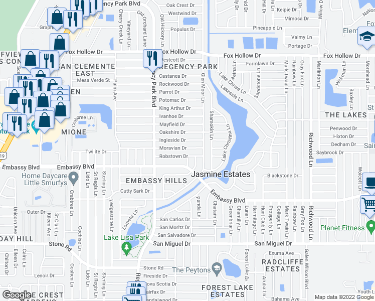 map of restaurants, bars, coffee shops, grocery stores, and more near 7330 Moravian Drive in Port Richey